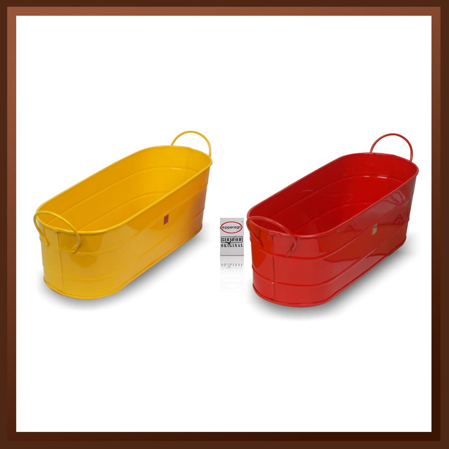 Pepper Agro Gardening Balcony Planter Oval Metal Plant container Assorted colours set of 2