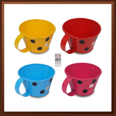 Pepper Agro Polka Dotted Mug Shaped Flower pots Metal Plant container Assorted colours set of 4
