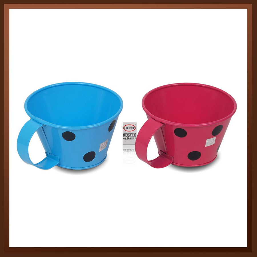Pepper Agro Polka Dotted Mug Shaped Flower pots Metal Plant container Assorted colours set of 2
