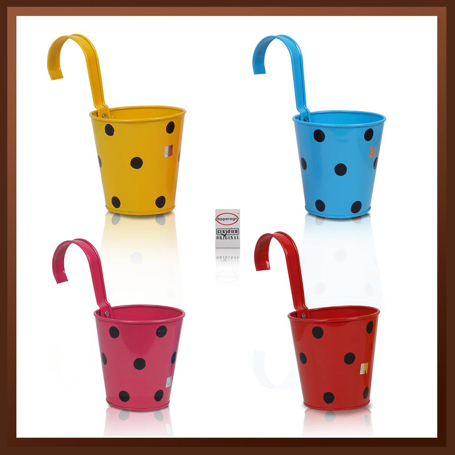 Pepper Agro Polka Dotted Hanging Flower pots Metal Plant container Assorted colours set of 4