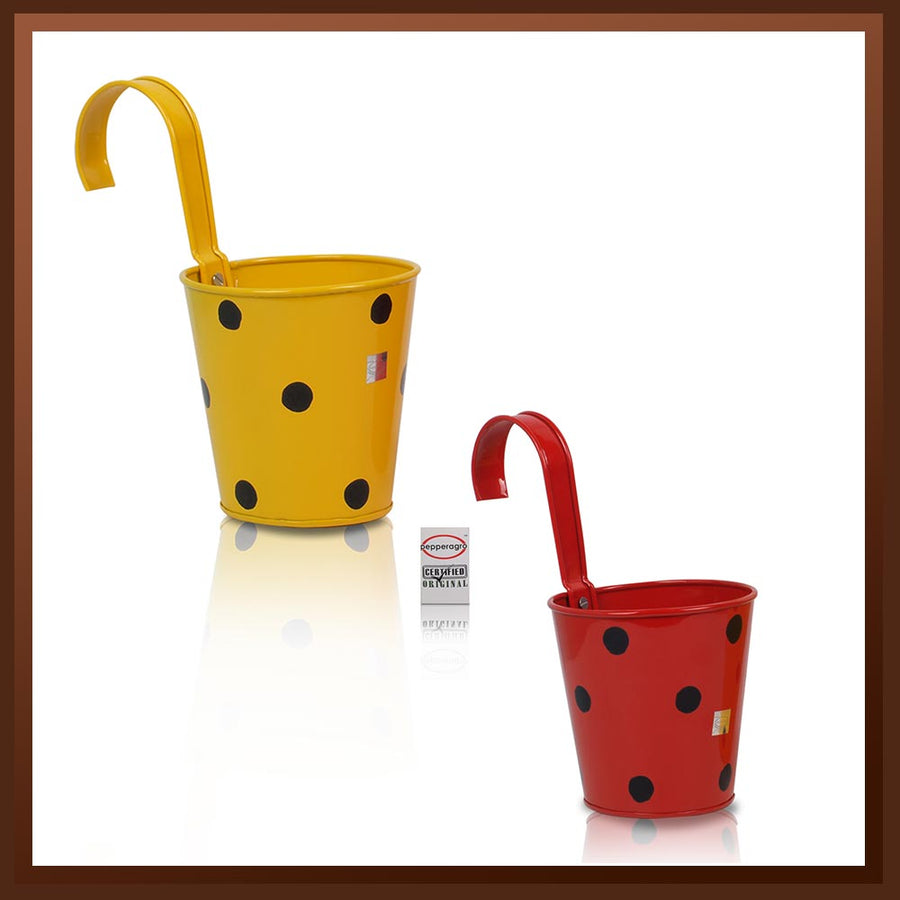 Pepper Agro Polka Dotted Hanging Flower pots Metal Plant container Assorted colours set of 2
