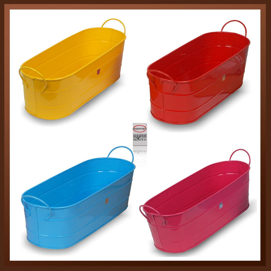 Pepper Agro Gardening Balcony Planter Oval Metal Plant container Assorted colours set of 4