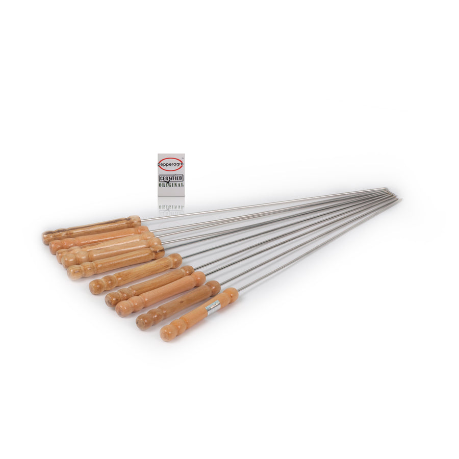 Pepper Agro Stainless Steel Barbeque Skewers for BBQ Tandoor/Grill Stick with Wooden Handle 30 cm Set of 10
