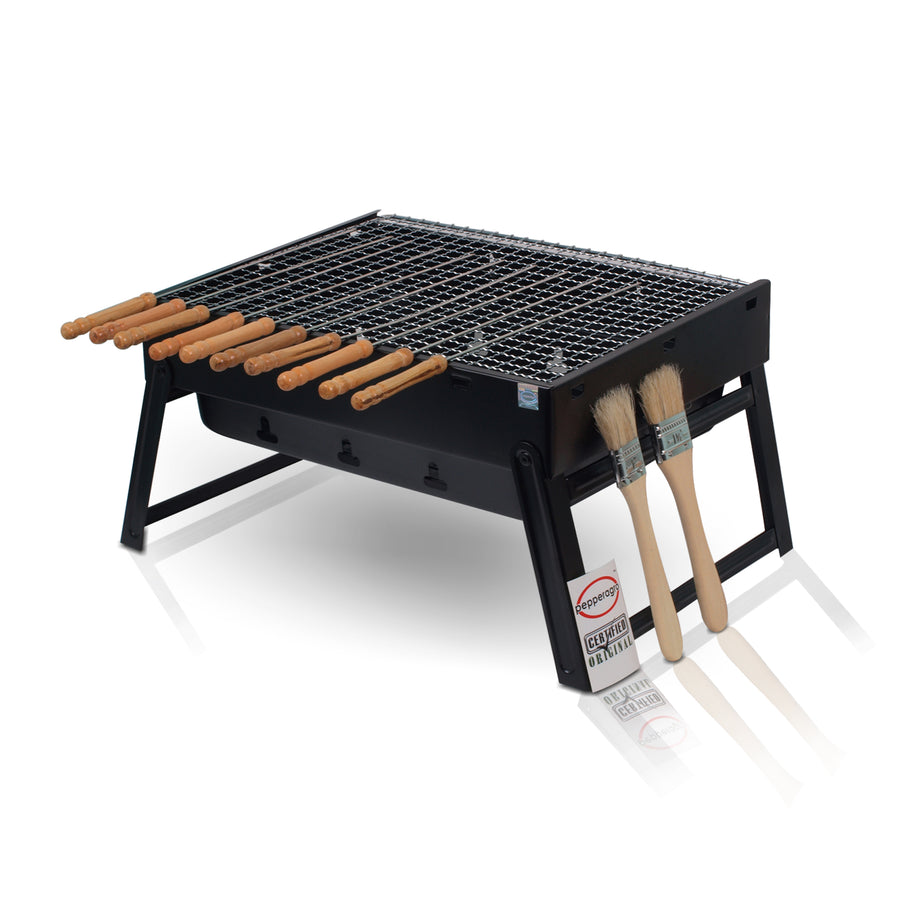 Portable & Picnic Terrace Garden Folding Barbeque with Skewers and Pastry Brushes Set of 1