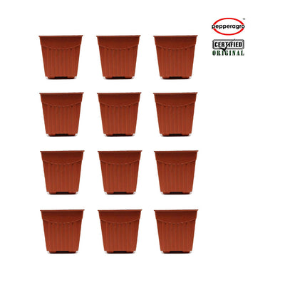 Pepper Agro - 4 Inch Square Planter - Pieces Of 12 Terracotta Buy planter Online