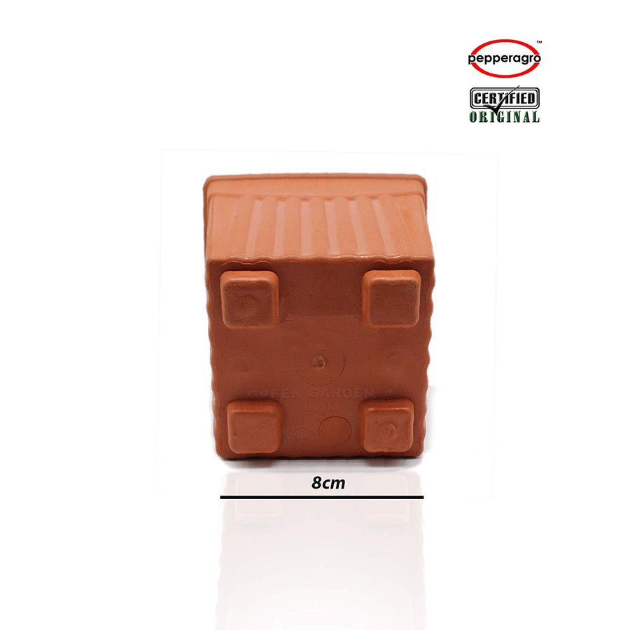 Pepper Agro - 4 Inch Square Planter - Pieces Of 12 Terracotta