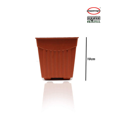 Pepper Agro - 4 Inch Square Planter - Pieces Of 6 Terracotta