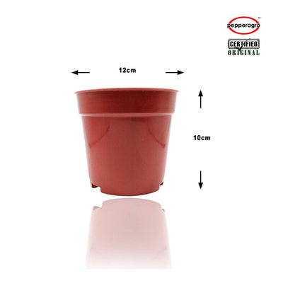 Pepper Agro Combo Pack Of - 4 Inch Round Pot & 4 Inch Base Plate - Pieces Of 12