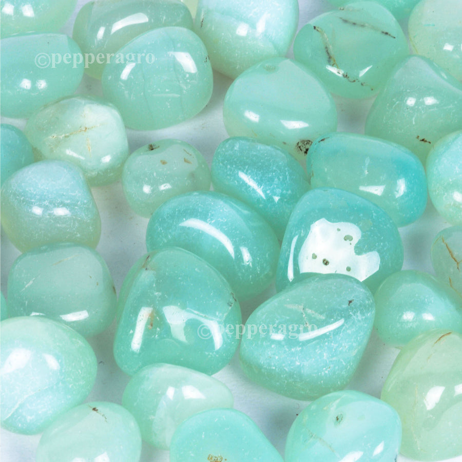 Pepper Agro Pebbles Stones for Decoration / Garden / Table / Aquarium 10 to 15 mm Onyx Aqua Green Pebble - Pepper Agro