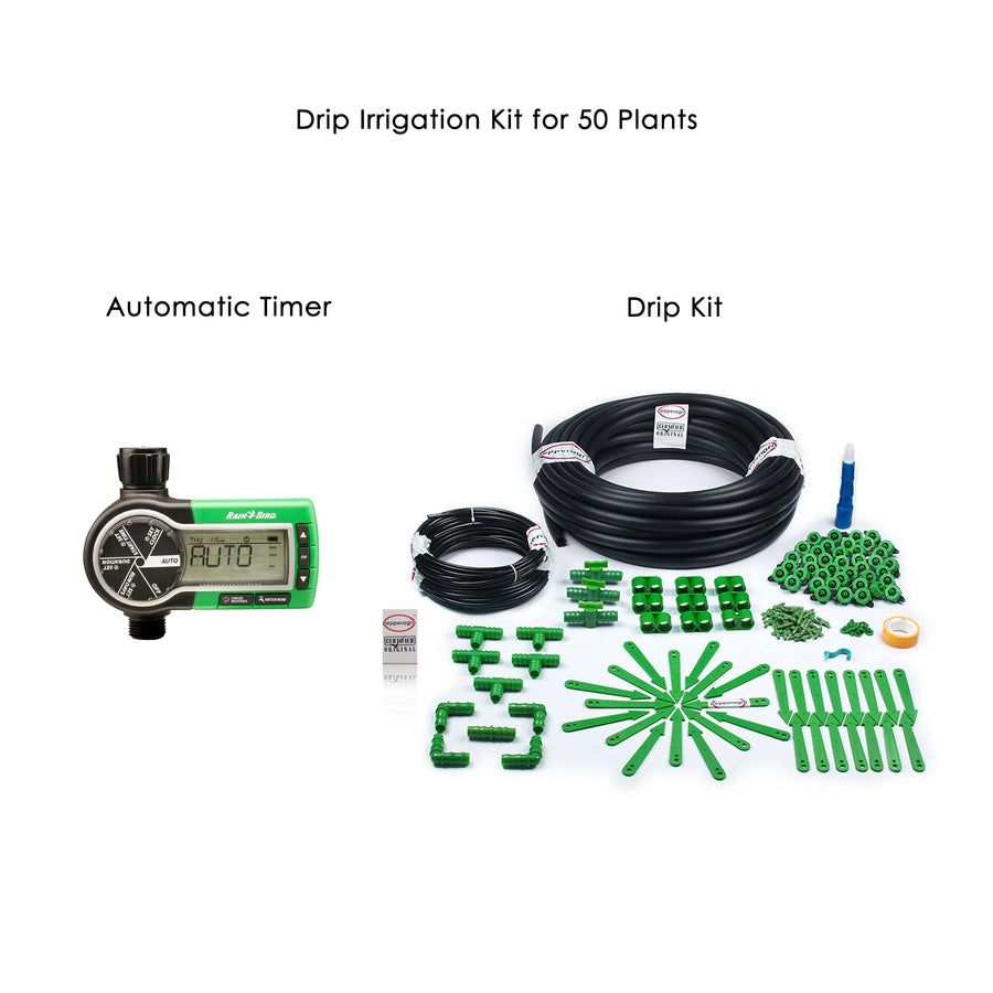 Pepper Agro Drip Irrigation Garden Watering Drip Kit with Rain Bird Automatic Water Timer for 50 Plants