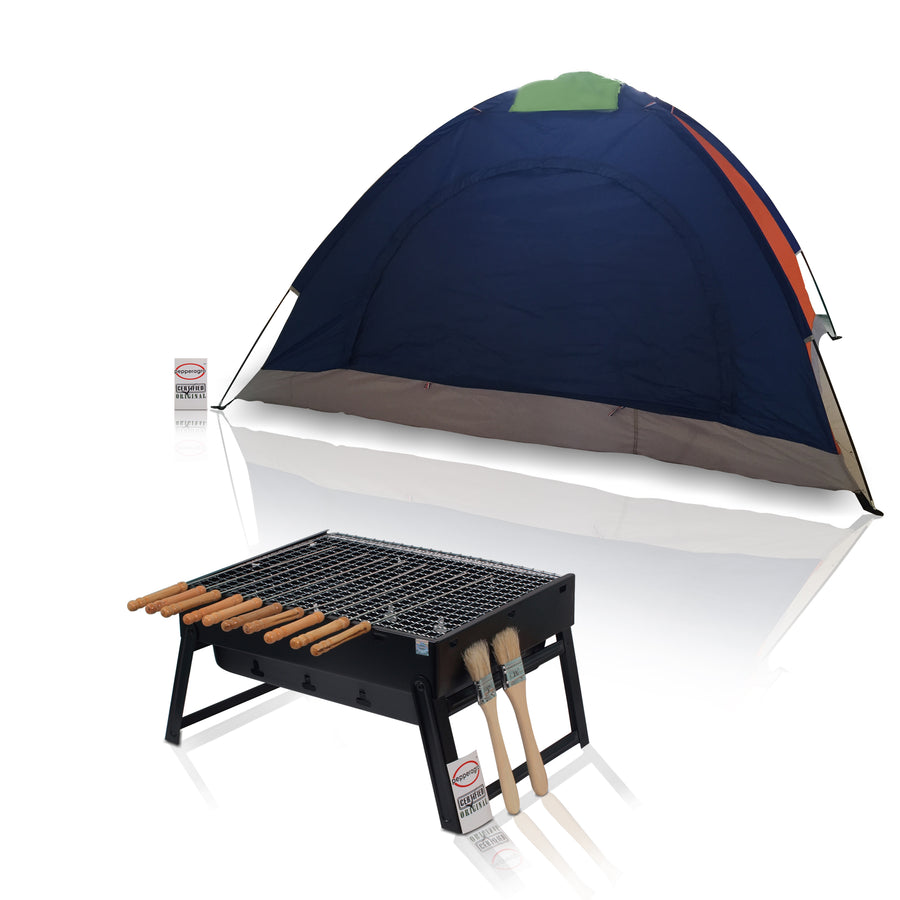 Pepper Agro Hiking Camping Portable Outdoor Picnic Set with Waterproof Dome Tent and Foldable Barbeque