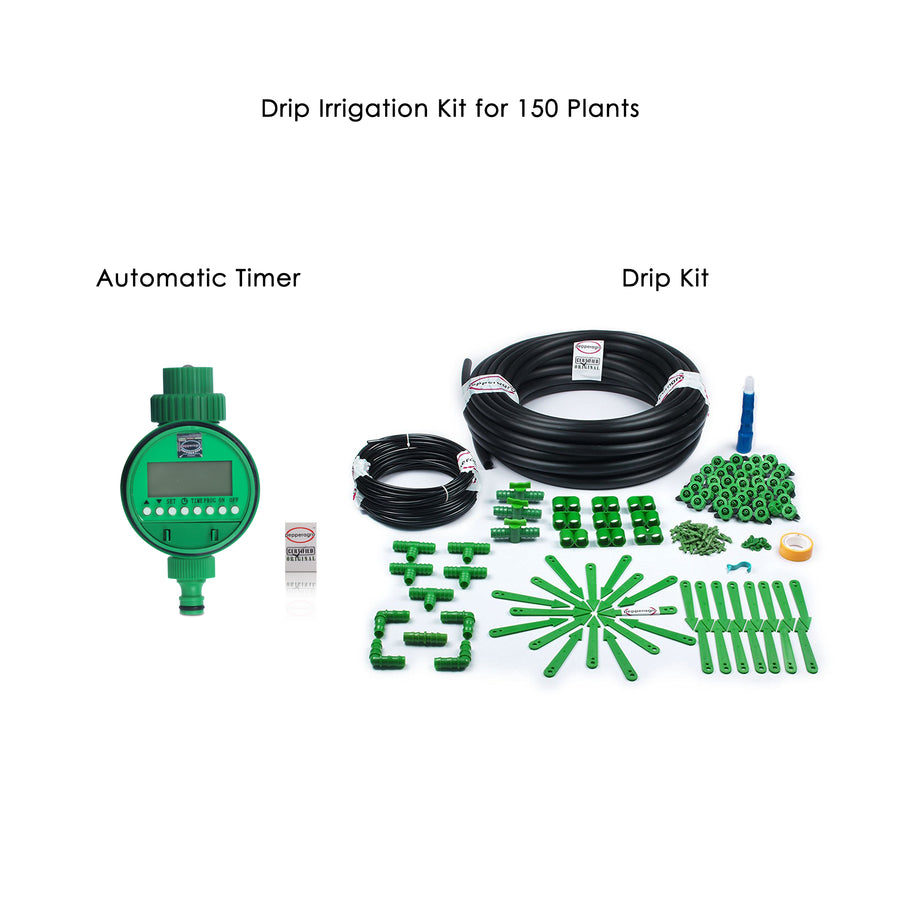 Pepper Agro Drip Irrigation Garden Watering Drip Kit with Electronic Timer for 150 Plants