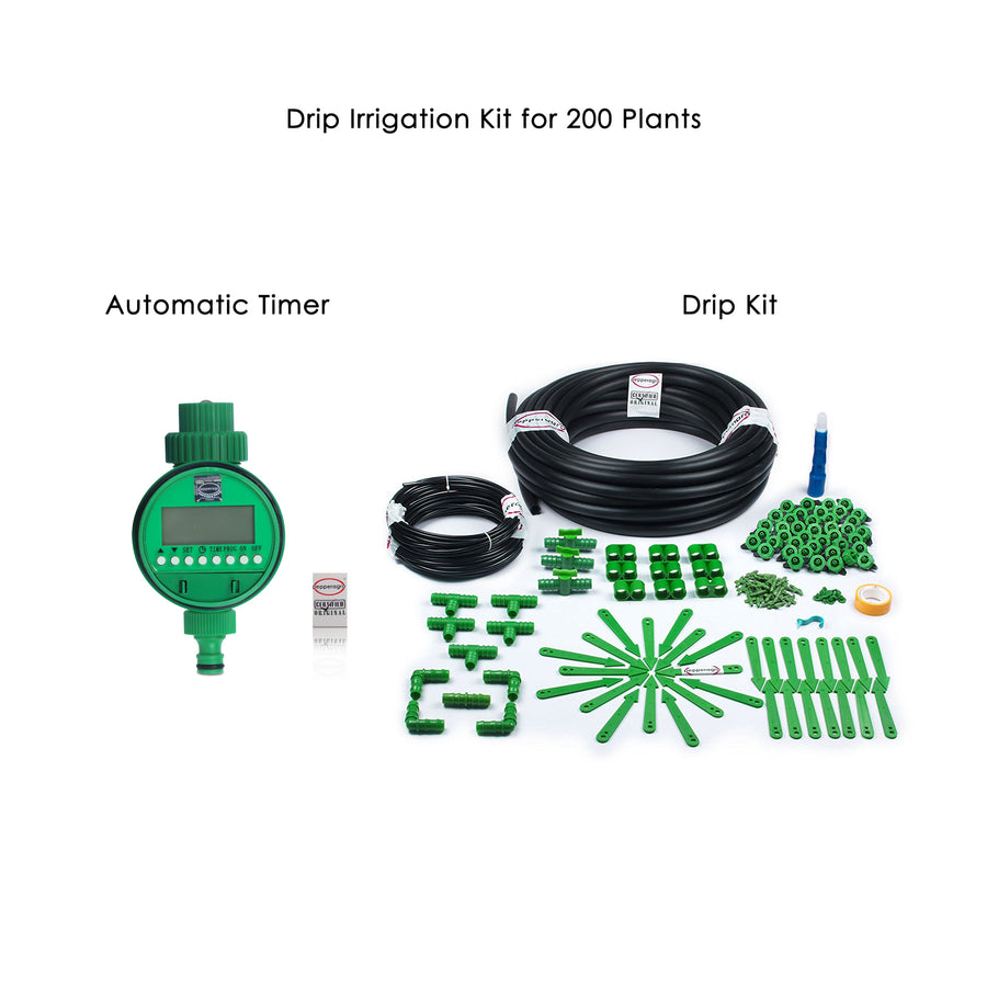 Pepper Agro Drip Irrigation Garden Watering Drip Kit with Electronic Timer for 200 Plants