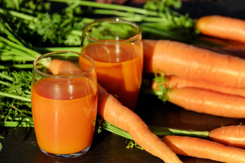Carrot Juice: improves vision health, is great for the immune system, lowers cholesterol, and helps to boost metabolism