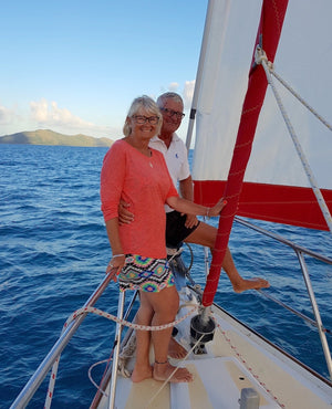Edie and Dennis loving life aboard the Tellurian, sailing the coast of Australia