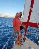 Edie and Dennis aboard the Tellurian, sailing the coast of Australia