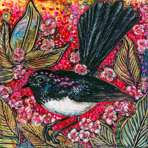 A Willy-willy Wagtail perched on a Geraldton Wax plant, artwork by Mychelle Mahar