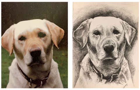 'Nancy', portrait in pencil on cartridge by Katie Manning