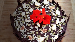 Our deliciously fudgy chocolate celebration cake