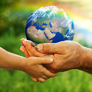 Child and adult hands holding our planet -  Caring for Mother Earth