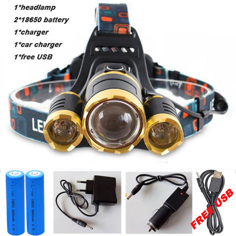 Image of 15000 LUMEN Super Powerful 3 X LED Head Light Gear