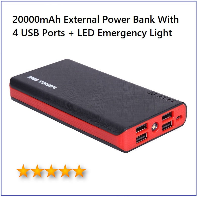 20000mAh 4 USB External Power Bank With FOUR USB Ports For ALL Mobile Devices