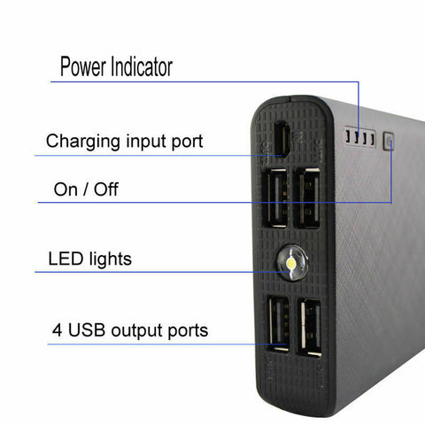 Image of 20000mAh 4 USB External Power Bank With FOUR USB Ports For ALL Mobile Devices