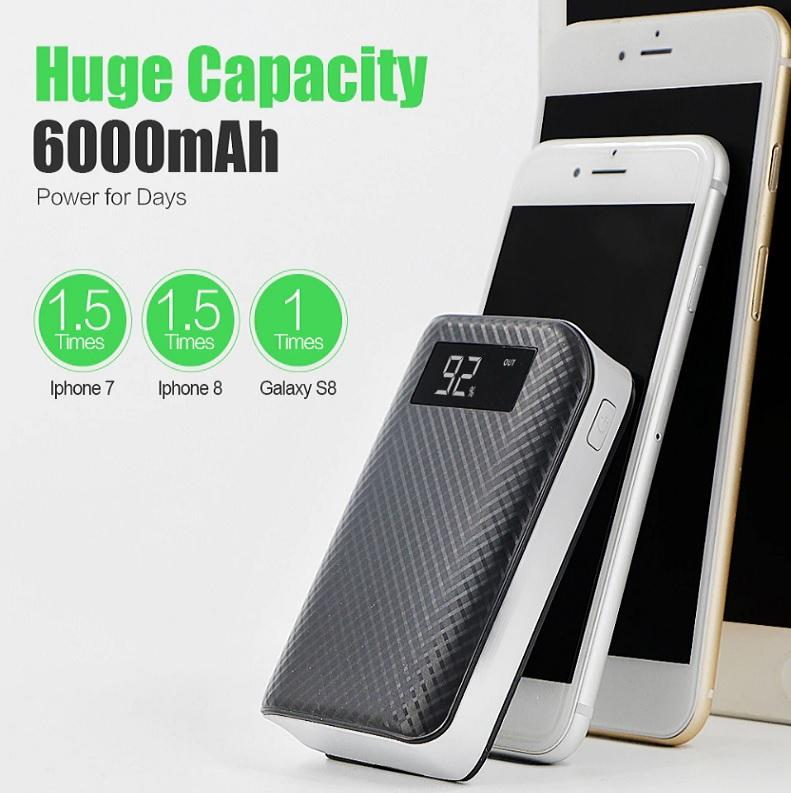 BEST Rated 6000 mAh, 2 USB Port Power Bank For ALL Mobile Devices + Built In LED Flashlight + 🚛 You Get FREE Shipping Too!