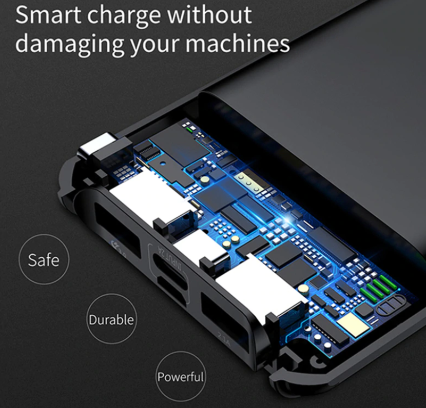 Newest Technology Power Bank With DUAL USB Ports + Special iPhone AND Samsung/Android Ports For Rapid Charging Anywhere!