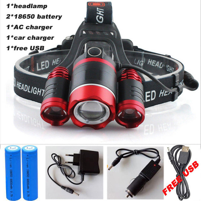 15000 LUMEN Super Powerful 3 X LED Head Light Gear