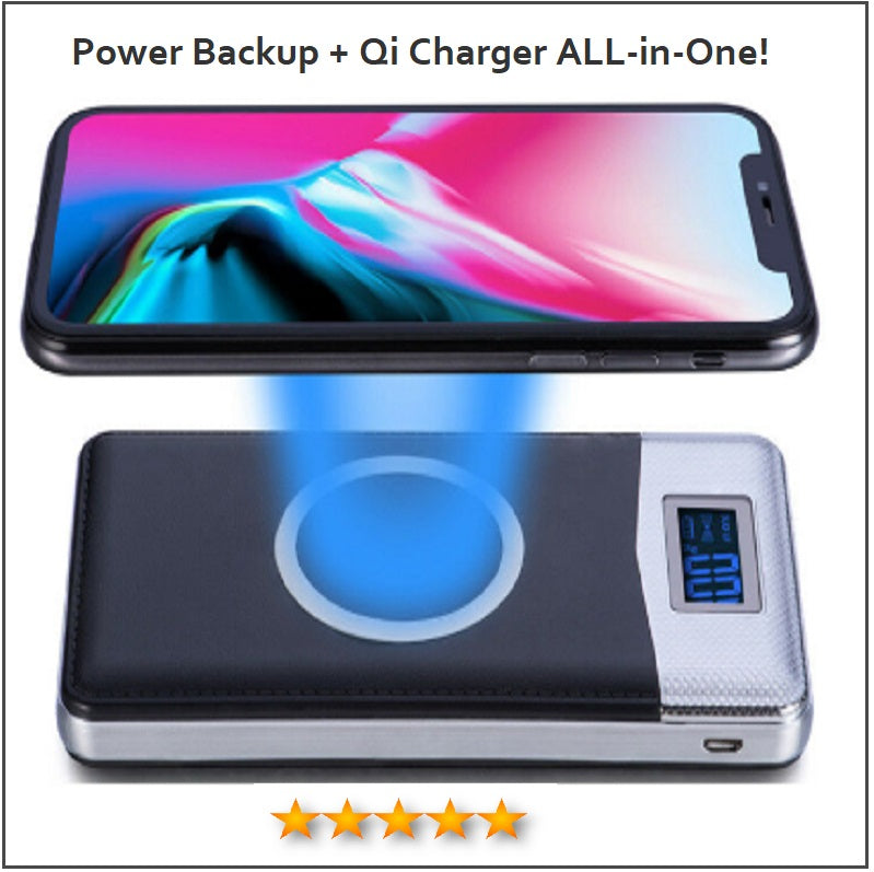 NEW 50000 mAh Power Bank Qi Wireless Charging + 2 USB Ports For ALL Mobile Devices