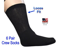 Diabetic Crew Socks. Gentle Extra Wide Comfort - White or Black - 6 pairs Sock Size 10-13