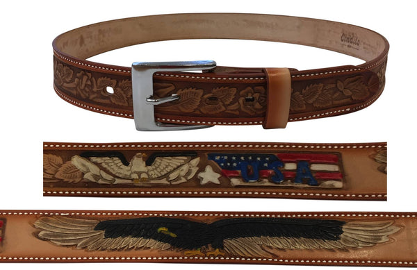 Genuine Cowhide Leather American Eagle US Belt with Buckle Change-Brown/Tan