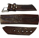 Cindilo Belt - Rich Brown Cowhide Leather, American Eagle Embossed w/ Buckle Change