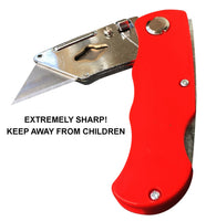 Utility Knife - Box Cutter - 2 Sharp & Safe with Folding Lock and Pocket/Belt Clip plus 10 Extra Blades