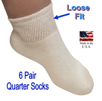 SOCK SIZE 9-11 - Diabetic White Black Ankle Socks - 80% Cotton 6 Pair Women's Men's