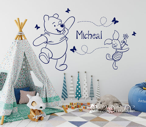 Winnie the Pooh and Piglet Butterflies Name Wall Sticker