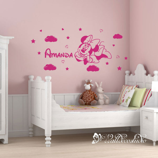 Personalized Name Minnie Mouse Clouds Stars Wall Sticker