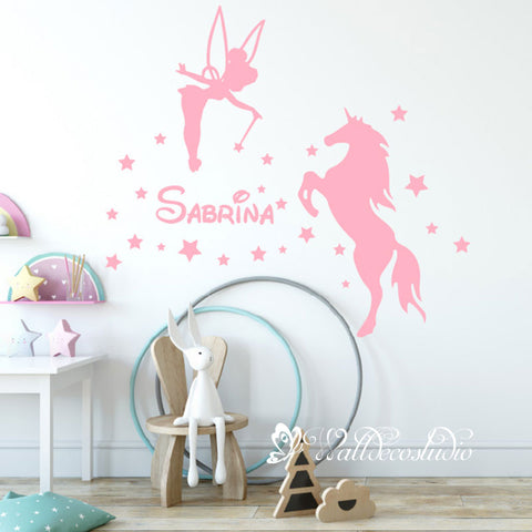 Fairy and Unicorn Stars Name Wall Sticker
