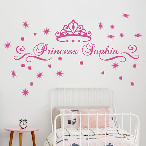 Nursery Girl Princess Crown With Custom Name Wall Sticker