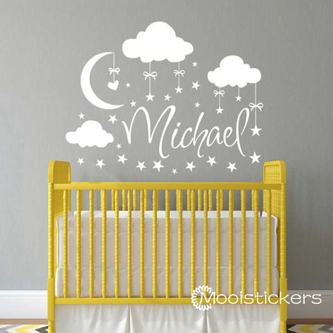 Clouds Stars with Name Wall Sticker