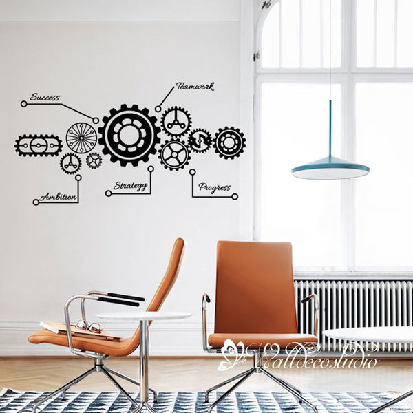 Team Work Gear Wall Sticker