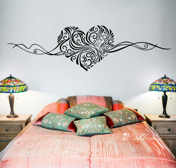 Floral Heart Wall Sticker for Bedroom