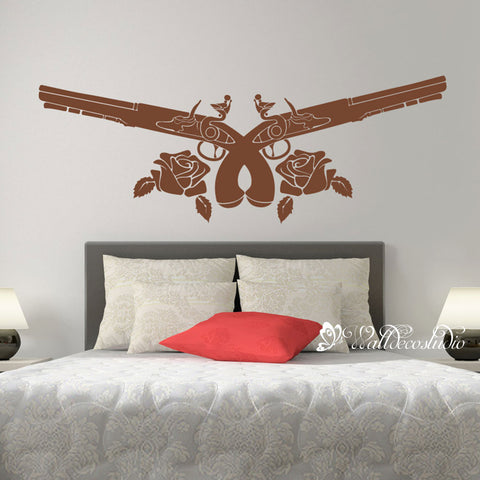 Rose and Gun Wall Sticker