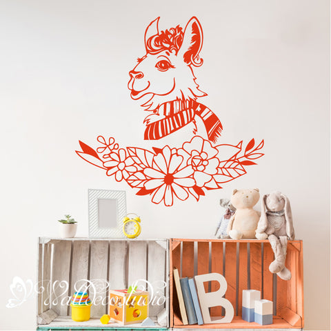 Llama Alpaca Floral Nursery Wall Sticker
