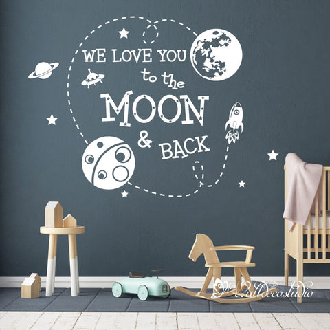 We Love You to the Moon and Back Space Wall Sticker