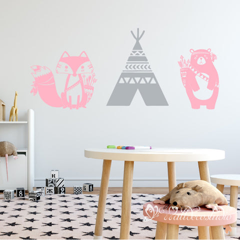Nursery Tribal Bear Fox Teepee Sticker