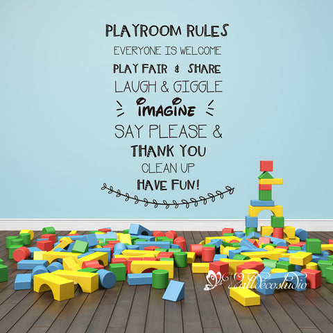 Playroom Rules for Kid Room