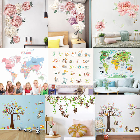 Nursery Kids Flower Alphabet World Map Tree Wall Sticker
