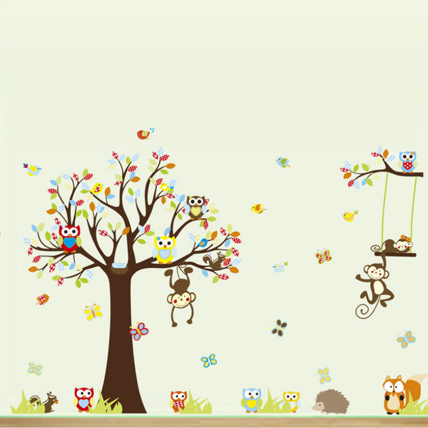 Tree with Owls and Monkeys
